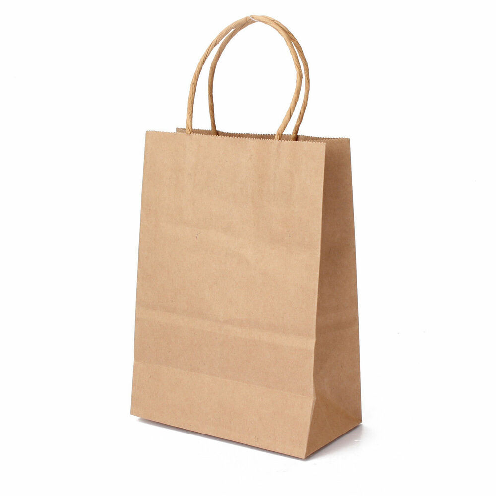 Paper Goodie Bags With Handles: 100 Pcs 5.25x3.75x8 Small Brown Kraft Paper Bags With