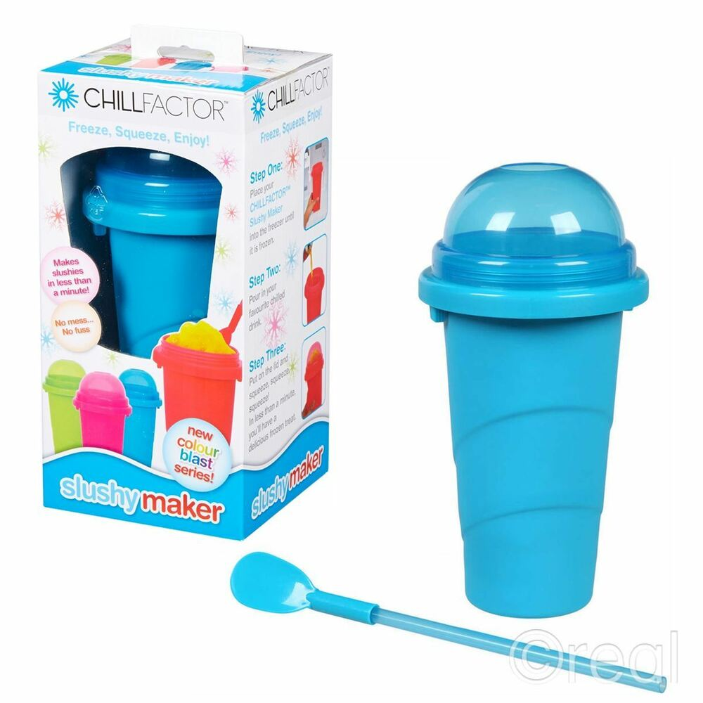 New Chill Factor Blue Slushy Maker Frozen Ice Drink Squeeze Official | eBay