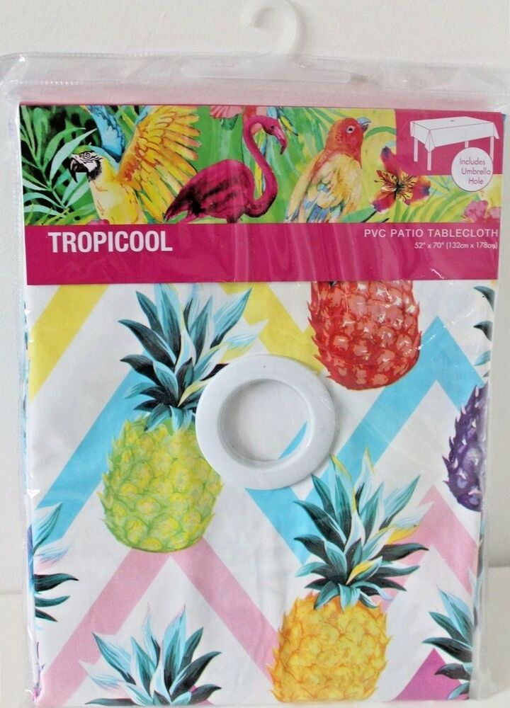 PVC Garden Patio Table Cloth Wipe Clean Tablecloth Parasol Hole Tropicool  Blue | EBay