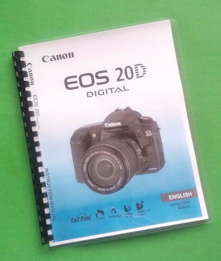Canon eos 20d and 20da full instruction manual user guide printed.