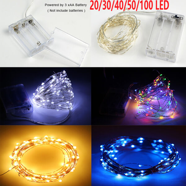 20/30/40/50/100 LED Copper Wire Battery String Lights Fairy Lights DIY Xmas