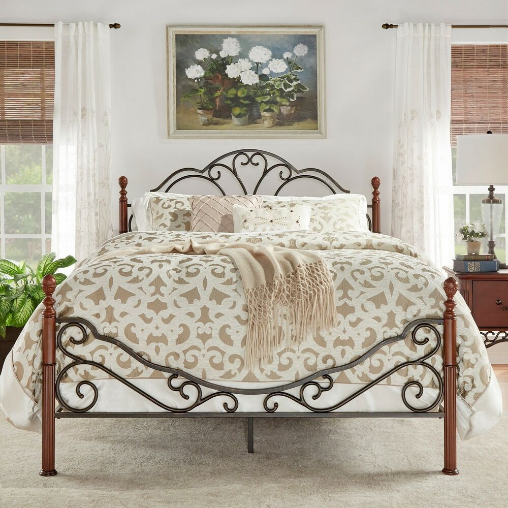 Lacy Iron Metal Bed Frame Set Scroll Queen Size Cherry
