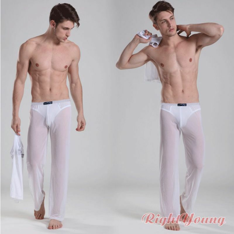 Men's Lingerie Sheer Mesh See Through Long Pants Home Wear