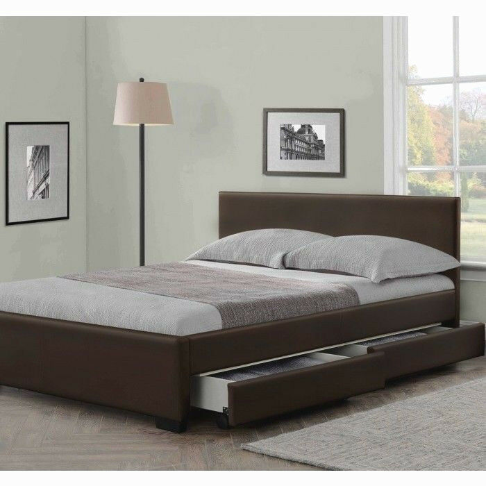 4 drawers leather storage bed double or king size beds for Double bed with storage and mattress