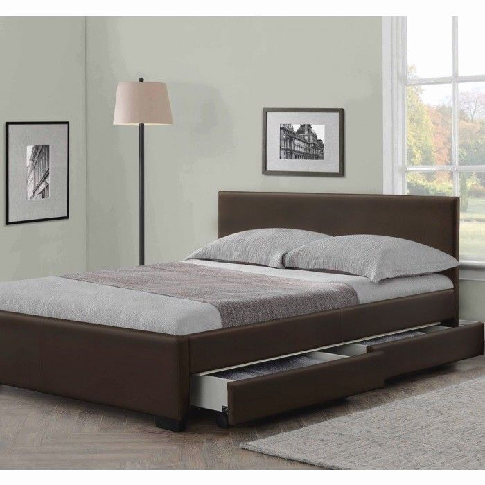 4 drawers leather storage bed double or king size beds memory mattress cheap ebay. Black Bedroom Furniture Sets. Home Design Ideas