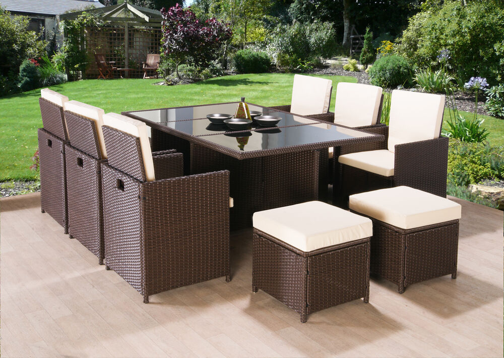 Rattan garden furniture cube set chairs sofa table outdoor for Outdoor furniture 8 seater