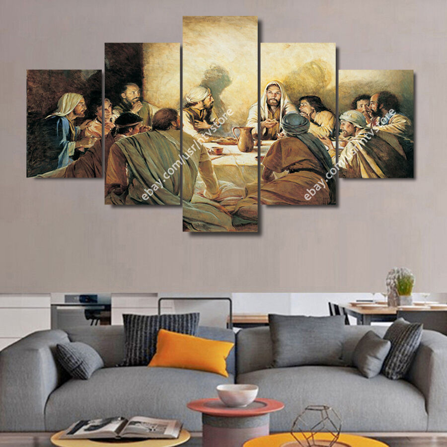 Jesus Christ Wall Art Framed Canvas Print The Last Supper Christian Home  Decor. A Great Set Of 5 Pieces Wall Art For Christians.