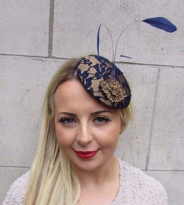 6cb1f03914c Details about Navy Blue Bronze Gold Feather Fascinator Pillbox Hat Clip Races  Wedding Vtg 3198