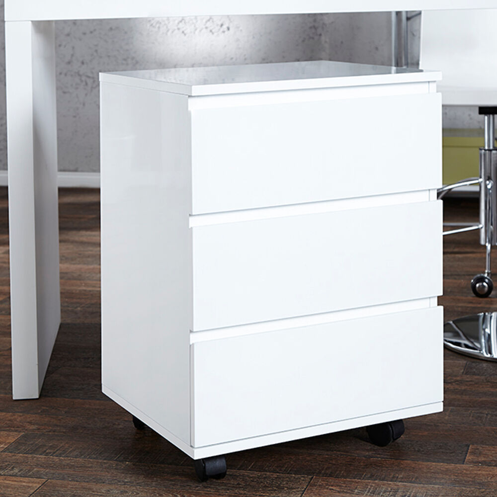 moderner rollcontainer big deal hochglanz weiss 3 schubladen schrank b roschrank ebay. Black Bedroom Furniture Sets. Home Design Ideas