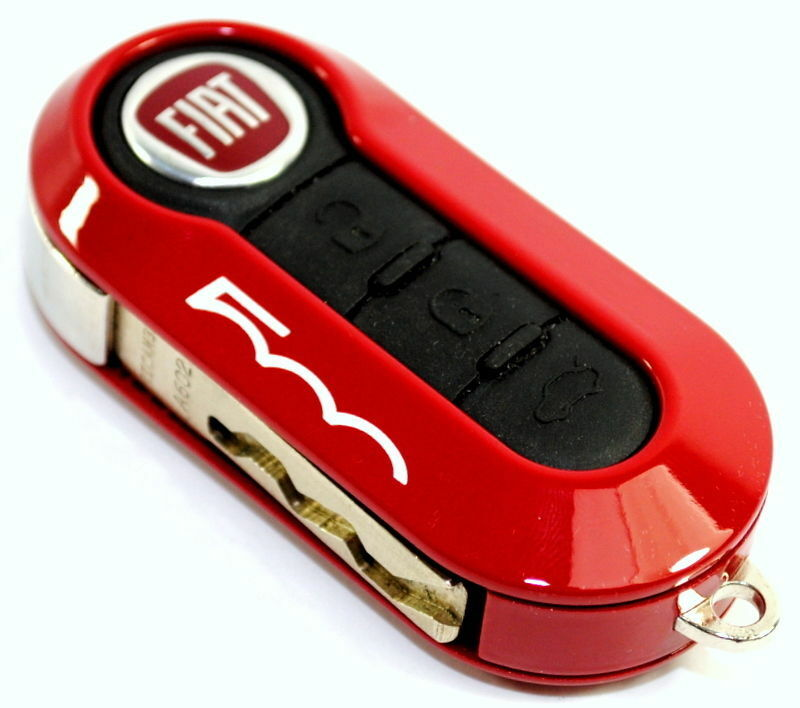 Fiat 500 Single Red Remote Key Cover Case New Genuine