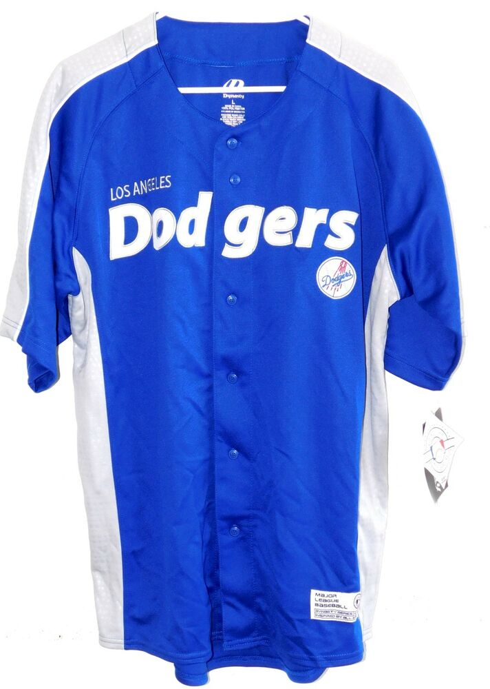 f568f51a93333 NEW MENS LARGE DYNASTY MLB LA LOS ANGELES DODGERS EMBROIDERED BASEBALL  JERSEY