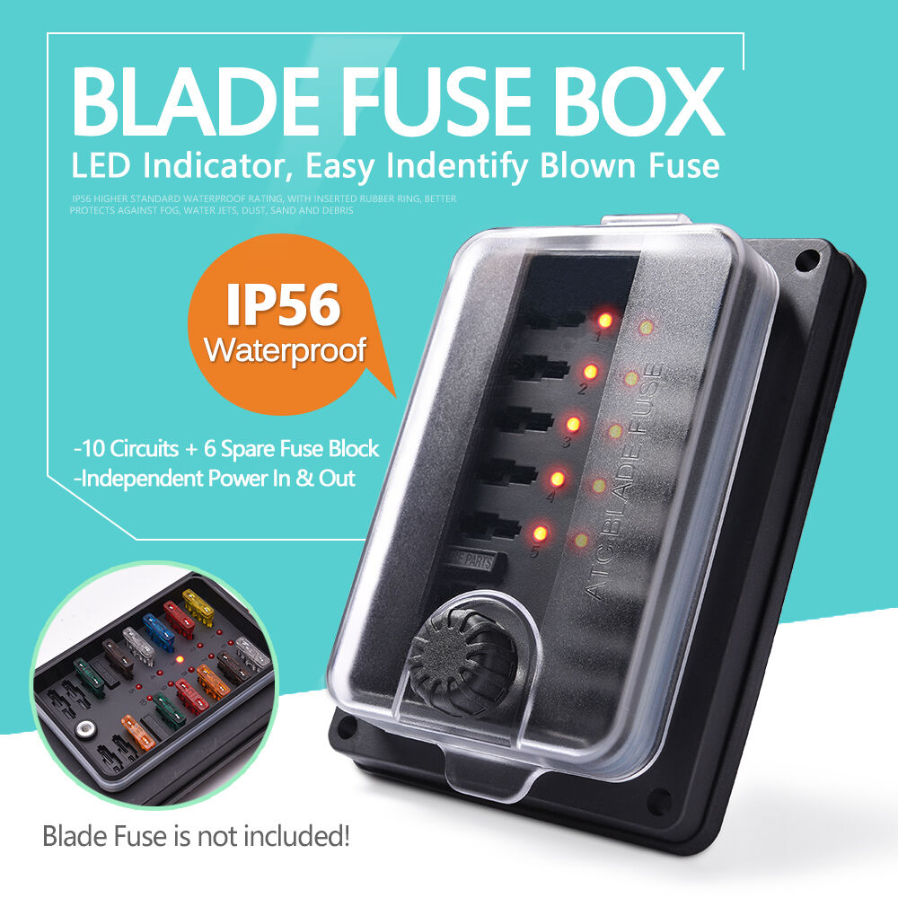 IP65 Blade Fuse Box Board Block with LED Indicate Light Clear Cover (10  ways)   eBay