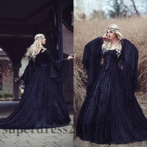 Gothic Black Lace Wedding Dress Long Ball Gown Bridal Gown: Gothic Black Lace Long Sleeved Lace Up Back Medieval