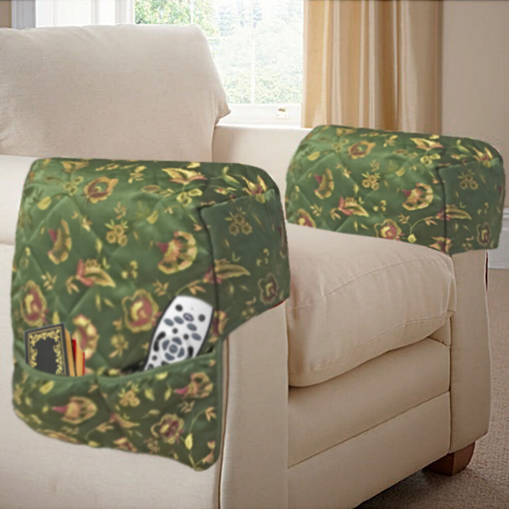 Quilted Jacquard Arm Caps Protectors With Storage Pockets
