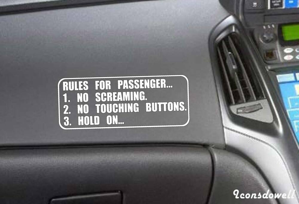 Rules For Passenger Funny Car Stickers Reflectivetruck