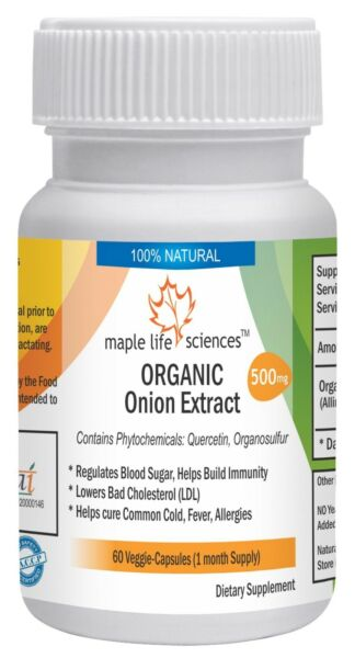 ORGANIC Onion Extract Capsules Quercetin Antioxidant Allium Cepa Hair Loss