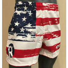 Patriot American Flag Rugby Shorts - Red White Blue - Sublimated - Pockets