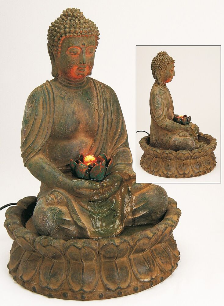 edler brunnen buddha 48cm braun auch f r aussenbereich figur skulptur modell neu ebay. Black Bedroom Furniture Sets. Home Design Ideas