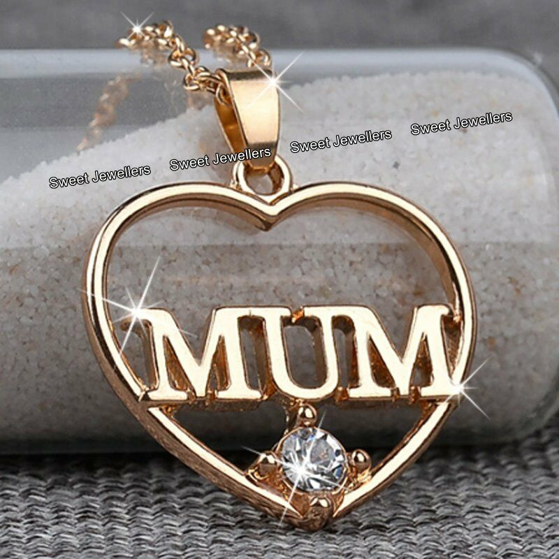 Details About Rose Gold Mum Heart Crystal Necklace Xmas Birthday Gift For Her Mother Mom Women
