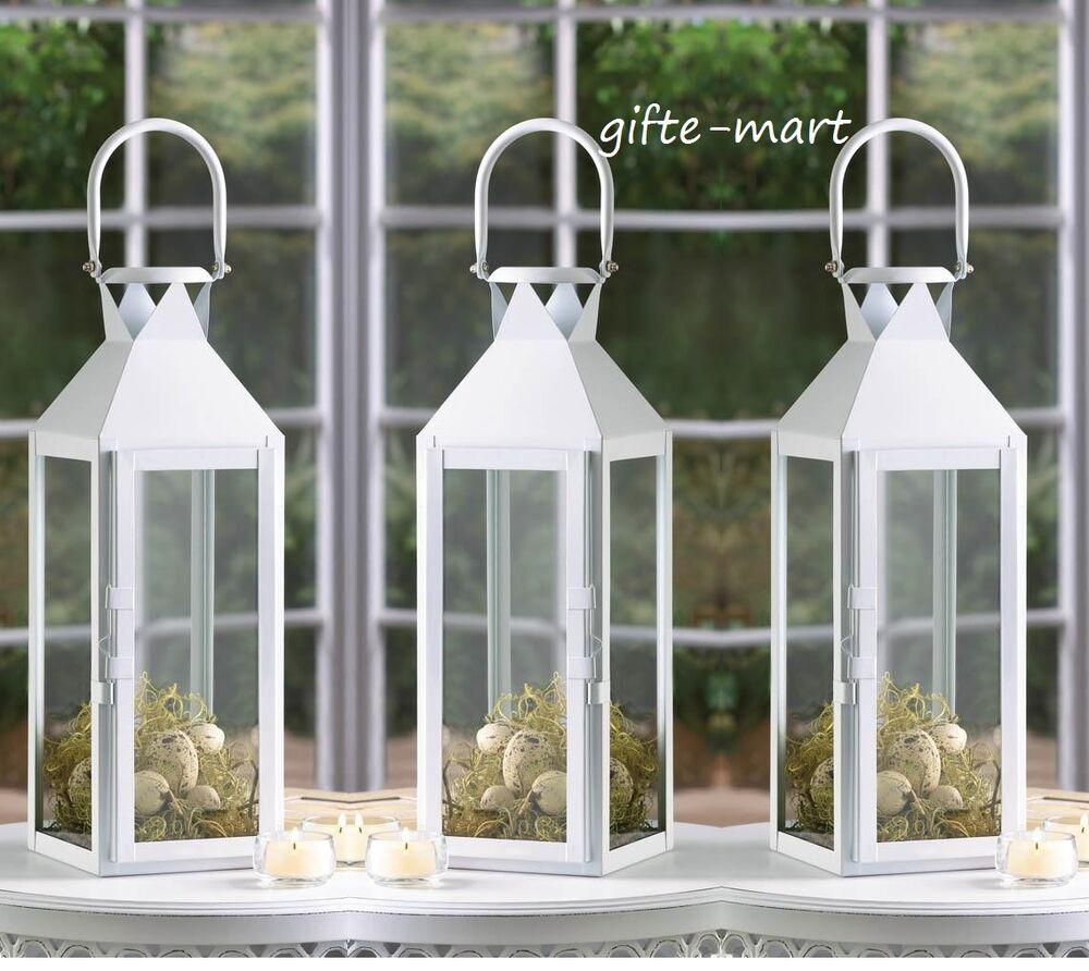 8 Lot Large White 15 Quot Tall Candle Holder Lantern Lamp