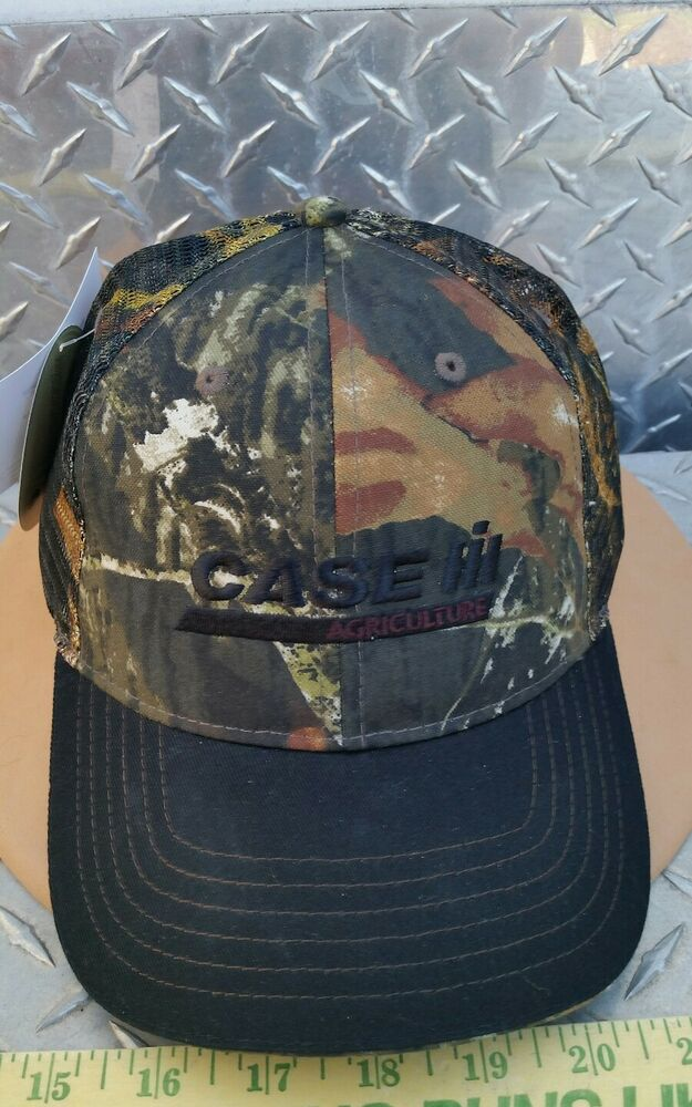 1653a09c Details about Case IH Mossy Oak Mesh Back Camo twill structured double bill trucker  hat Cap
