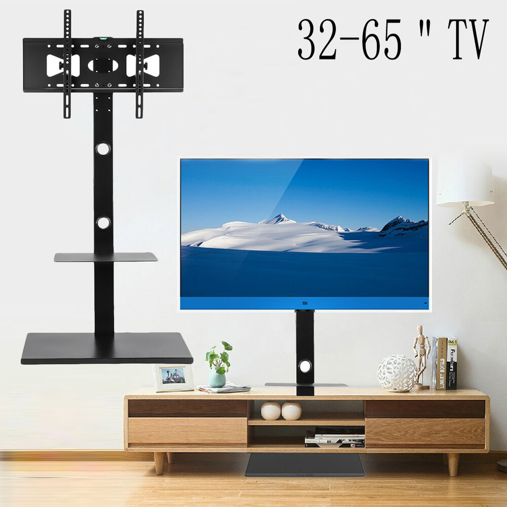 Tv Floor Stand Mount With Component Multilayer Shelves For