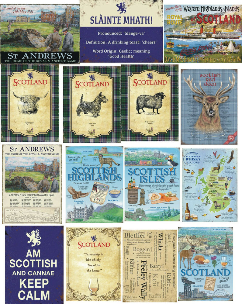VINTAGE STYLE METAL WALL SIGN PLAQUE GOLF SCOTTISH PICTURE RETRO TIN ...
