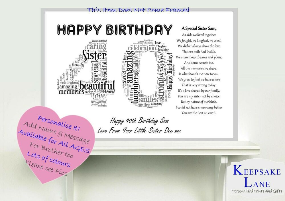 Personalised Special Sister Poem Word Art 40th Birthday ...