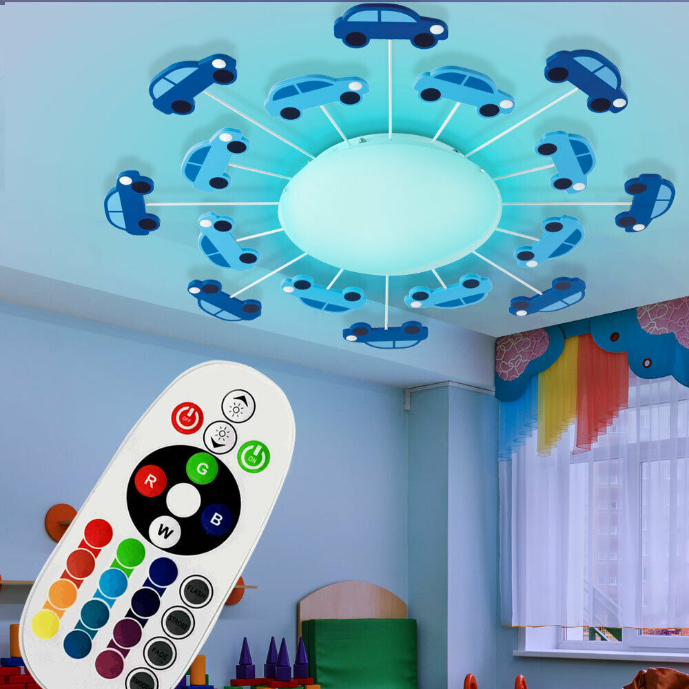 led deckenleuchte jungen kinderzimmer rgb fernbedienung dimmer auto wandlampe ebay. Black Bedroom Furniture Sets. Home Design Ideas