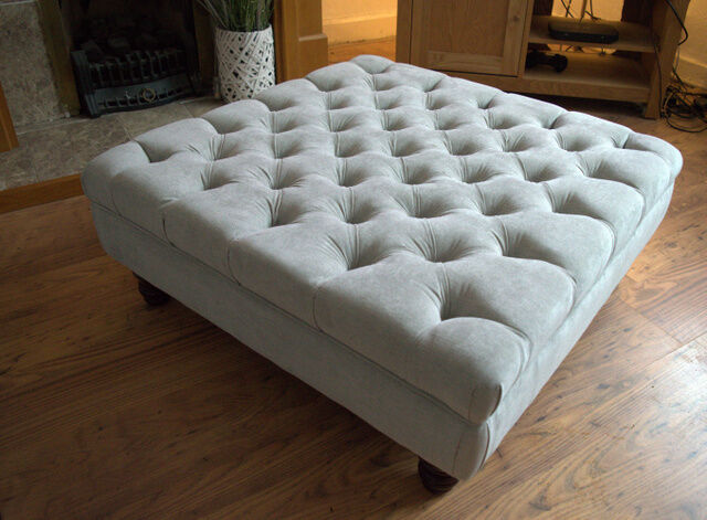 Square Chesterfield Deep Buttoned Footstool In Casino