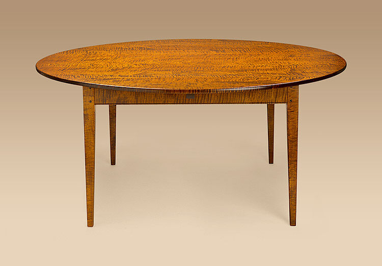 Dining Room Table Tiger Maple Wood Round 66in Shaker Style