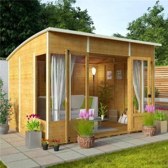 Modern style relaxing sunroom summer house outdoor garden for Log cabin sunrooms