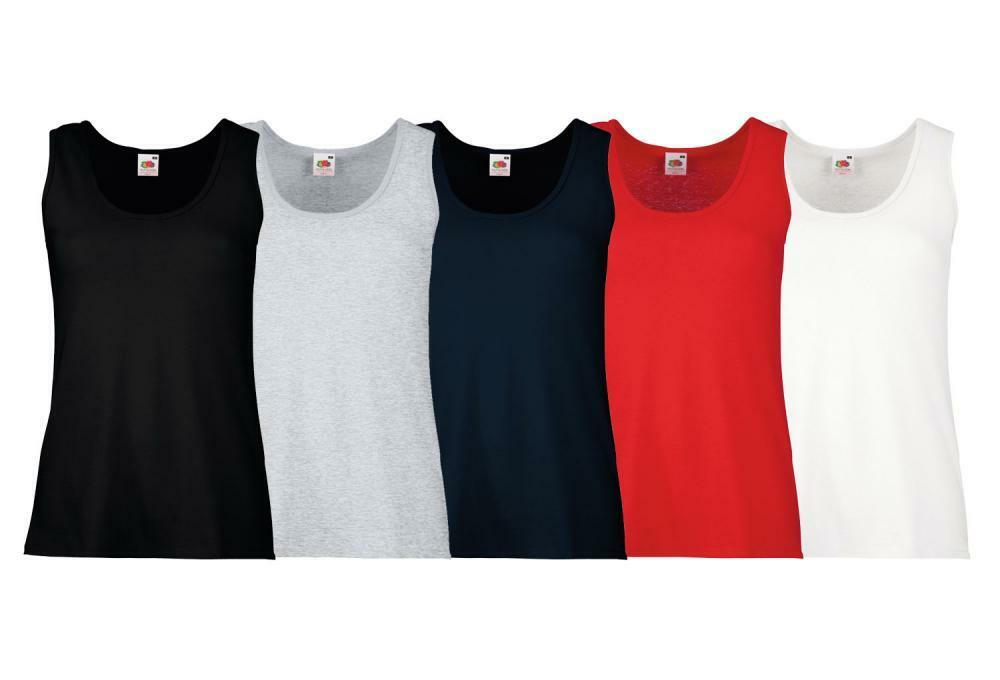 2a2a6584038fc Details about 5 Pack Fruit of the Loom Ladies Fit Round Neck Sleeveless  Casual Gym Vest Top