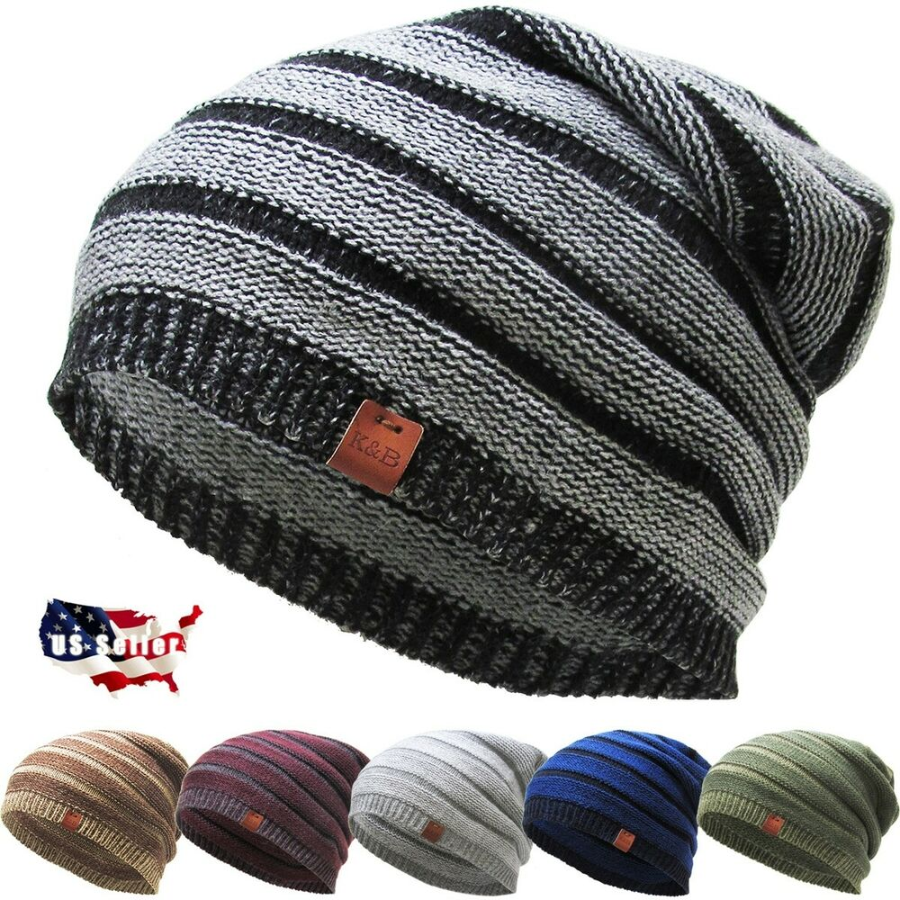 5ae491b5ae5 Details about Slouch Beanie Winter Ski Skully Striped Heather Colors