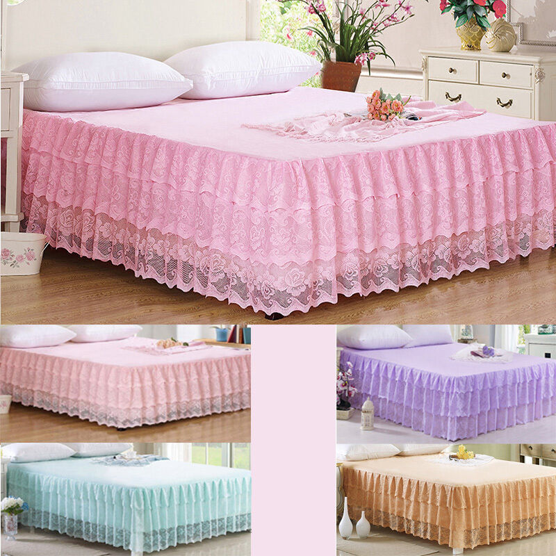 Stunning Lace Princess Luxury Valance Bed Skirt Fitted Sheet Girls