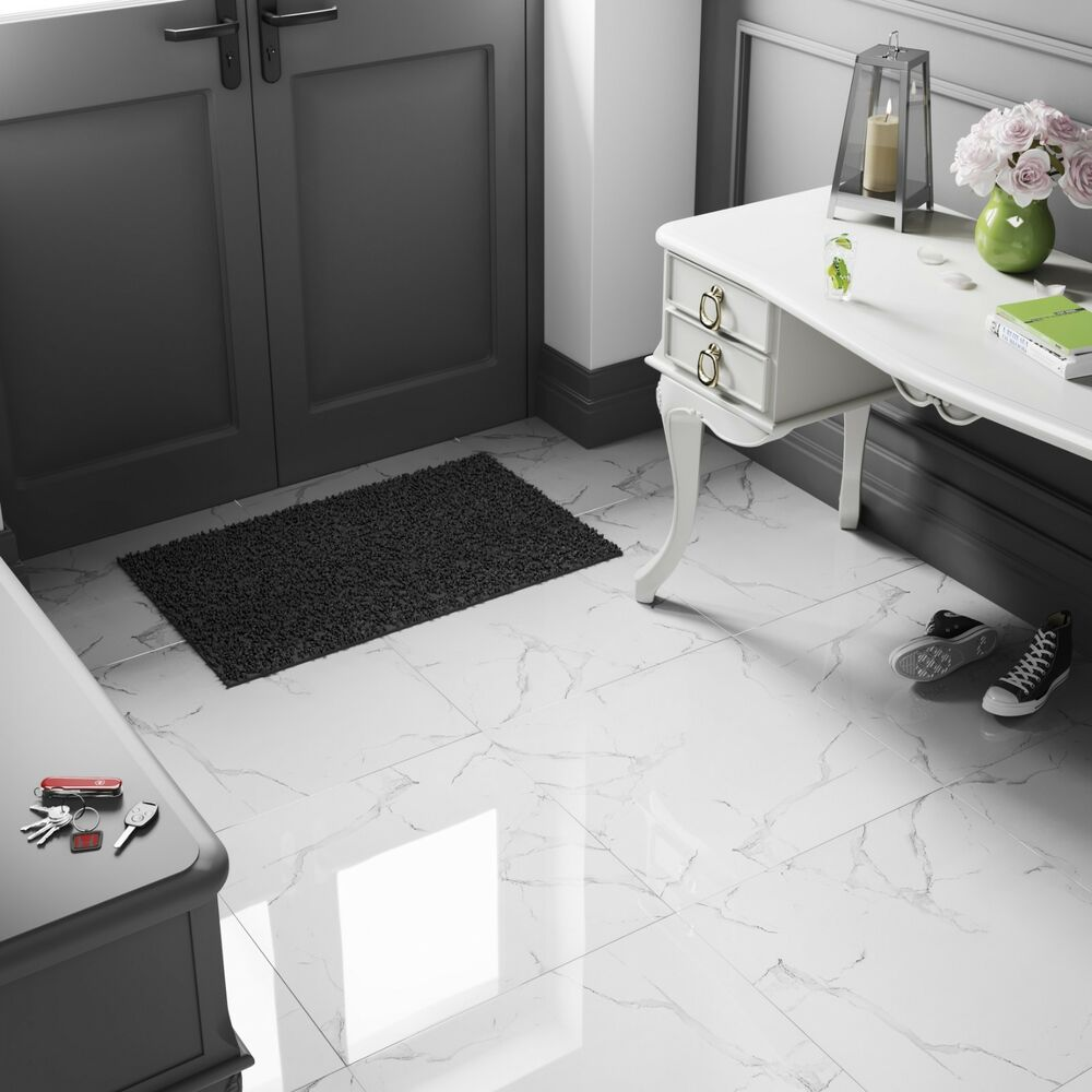 163 19 19 M2 White Marble Effect High Gloss Porcelain Tiles