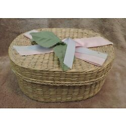 Vintage Wicker Basket Pink & White Ribbons and Green Leaves 6 1/2'' X4 1/2'' X 3''