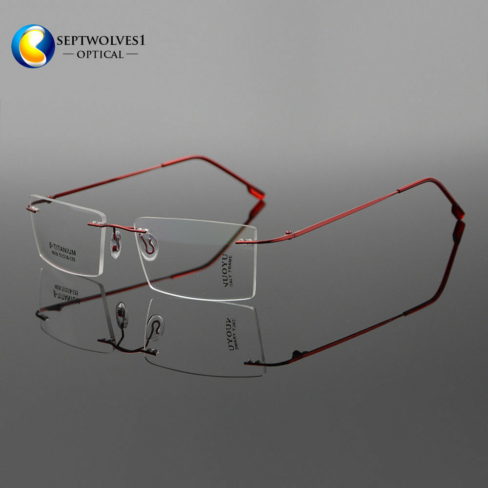 a75c1bf589 Details about β-Titanium Rimless Ultra Light Myopia Eyeglasses Frames  Optical Eyewear RX Able