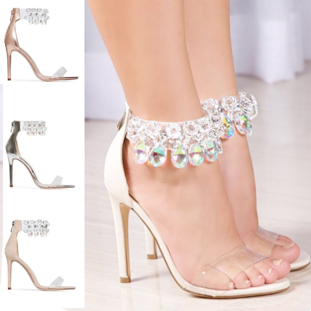250d251751f6 WOMENS LADIES DIAMOND CRYSTAL CLEAR ANKLE STRAP PEEP TOE PARTY EVENING  SANDAL