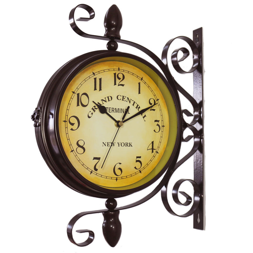 Kiaotime Vintage Double Sided Metal Station Wall Clock W 360 Degree Rotate Brown Ebay