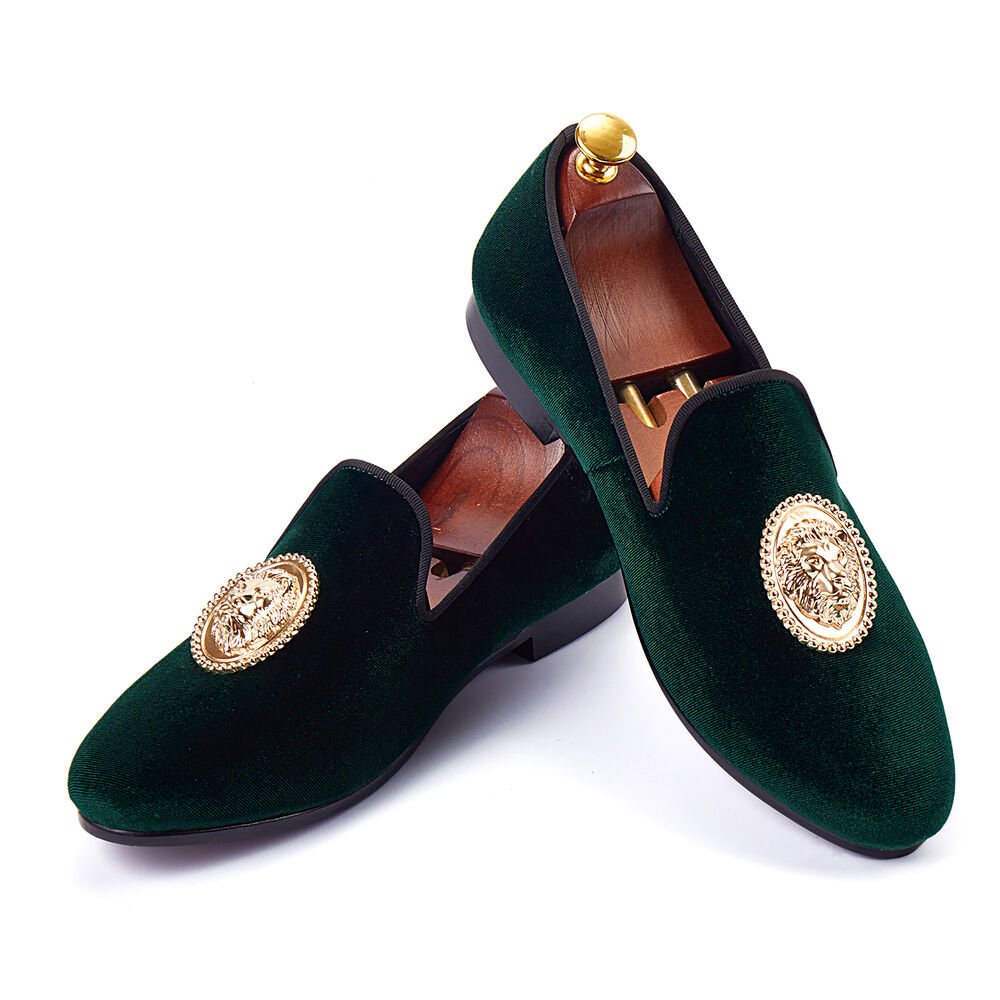 cd60b5f756e Details about Harpelunde Animal Buckle Men Wedding Shoes Green Velvet  Loafers Size 6-14