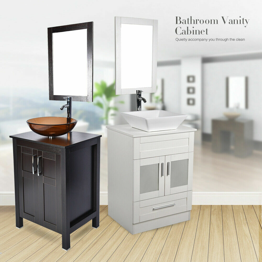 24 bathroom vanity single wood cabinet vessel sink bath 16968