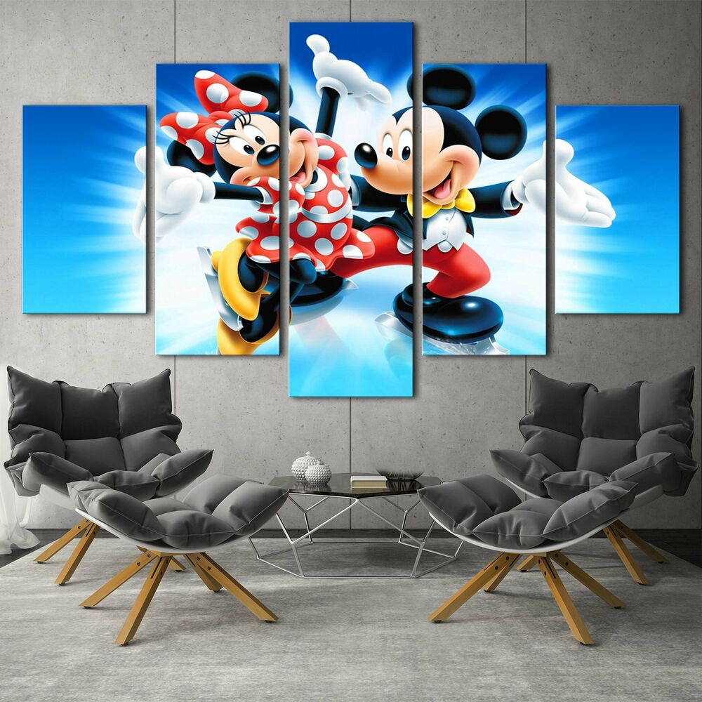 Mickey Mouse 5PCS HD Canvas Print Home Decor Room Picture