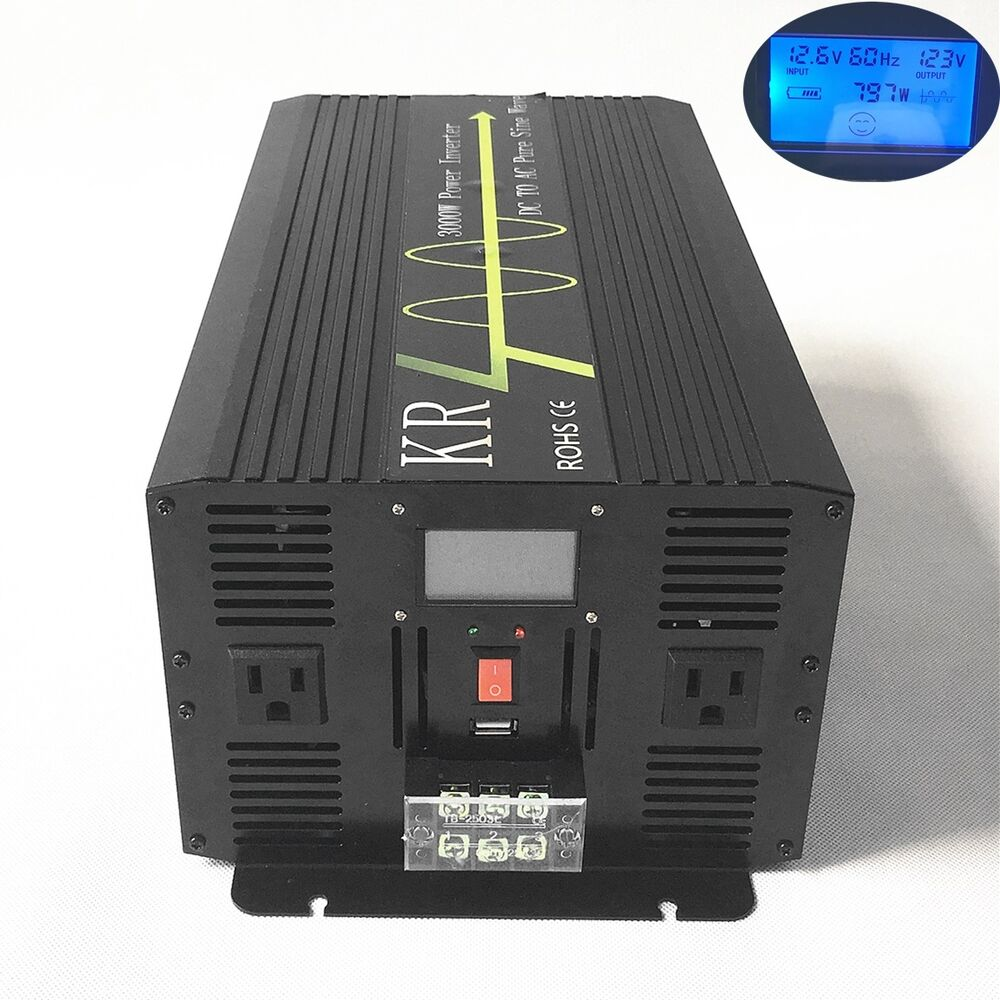 3000w Pure Sine Wave Solar Power Inverter 12v  24v  48v To 120  220  230  240v Lcd