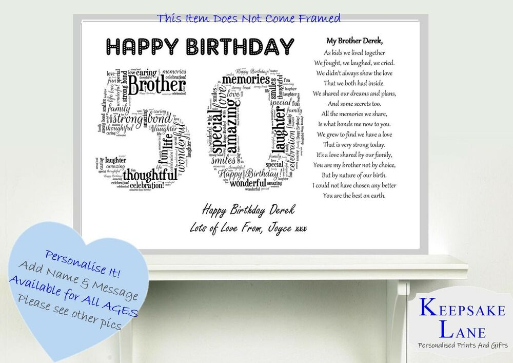 Personalised Special Brother Poem Word Art 40 50 60 40th Birthday Gift Present 786071610200