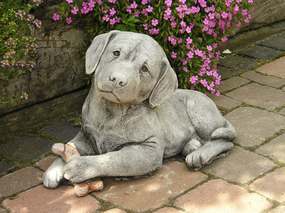garten deco gartenfigur steinfigur hund stein labrador. Black Bedroom Furniture Sets. Home Design Ideas