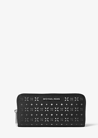7a406ec710ed Details about NEW Michael Kors MK Jet Set Travel Perforated-Leather  Continental Wallet Black