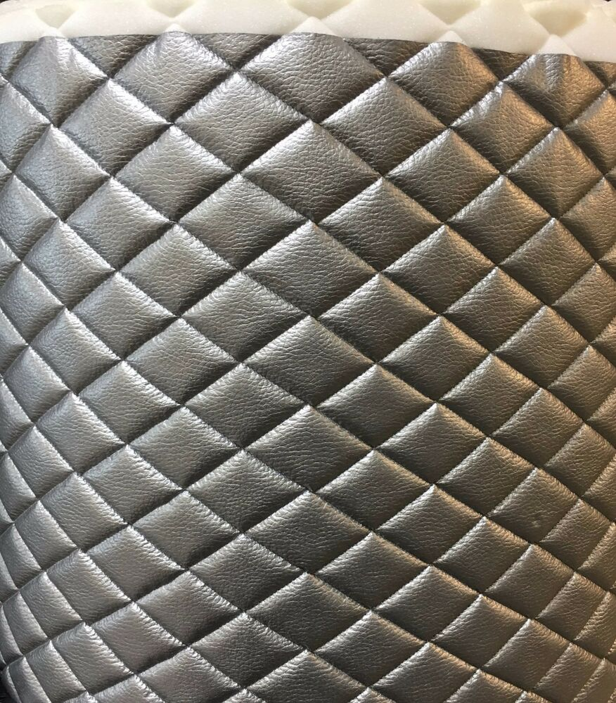 Vinyl Upholstery Silver Metallic Diamond Quilted Fabric