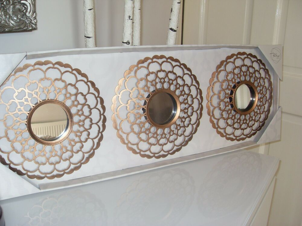 Set Of X 3 Bronze Gold Pretty Moroccan Mirrors Wall Mounted Bedroom Living Room