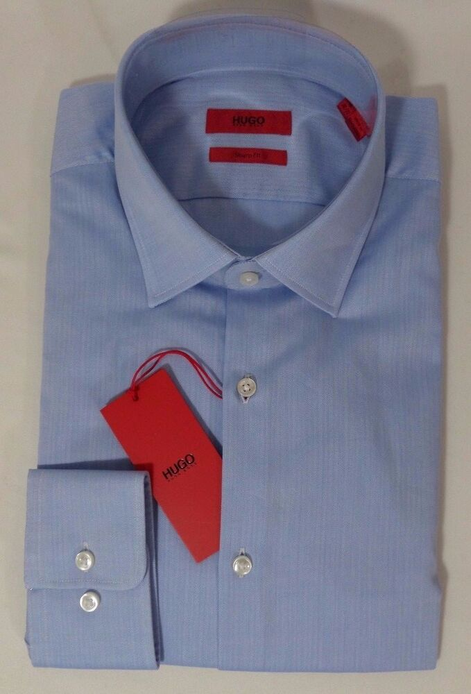 898deb87 Details about HUGO BOSS C-MABEL US RED LABEL DRESS SHIRT SHARP FIT  HERRINGBONE BLUE-NWT